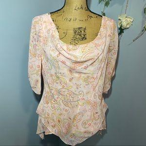 Medium pastel pink printed loose blouse